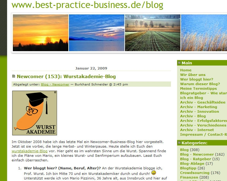 Screenshot vom Artikel über die Wurstakademie im Best-Practice-Business-Blog